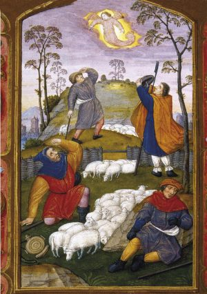 """Illuminated manuscript, France, 15th Century.  Annunciation to the Shepherds.  Book of hours """"Tour et Taxis"""".  Chateau of Chantilly."""